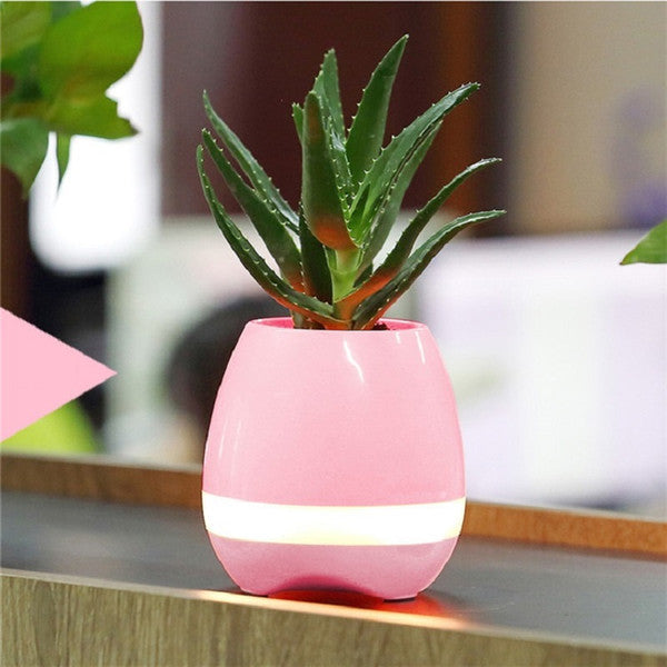 mini bluetooth speaker flowerpot with colorful night lamp