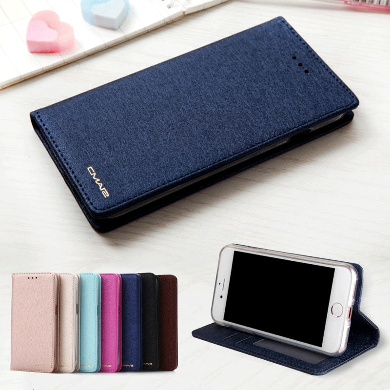 Silk Leather Magnetic Flip Wallet Phone Case For iPhone 6 6S 7 8 Plus X
