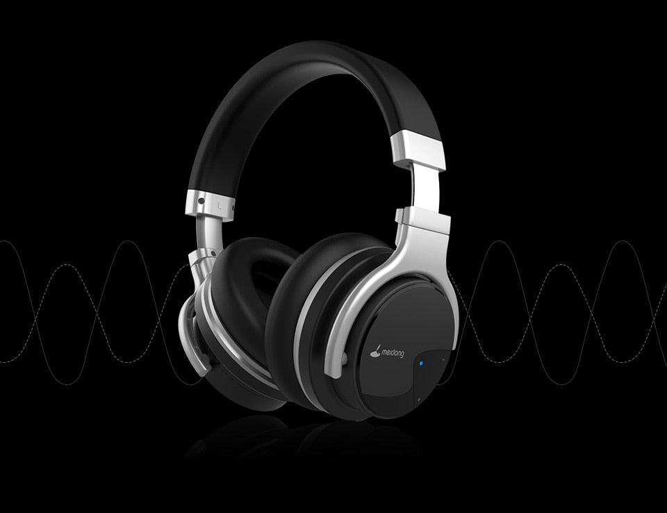 Meidong E7B Active Noise Cancelling Headphones Over ear Wireless Bluetooth Headset with microphone for phones