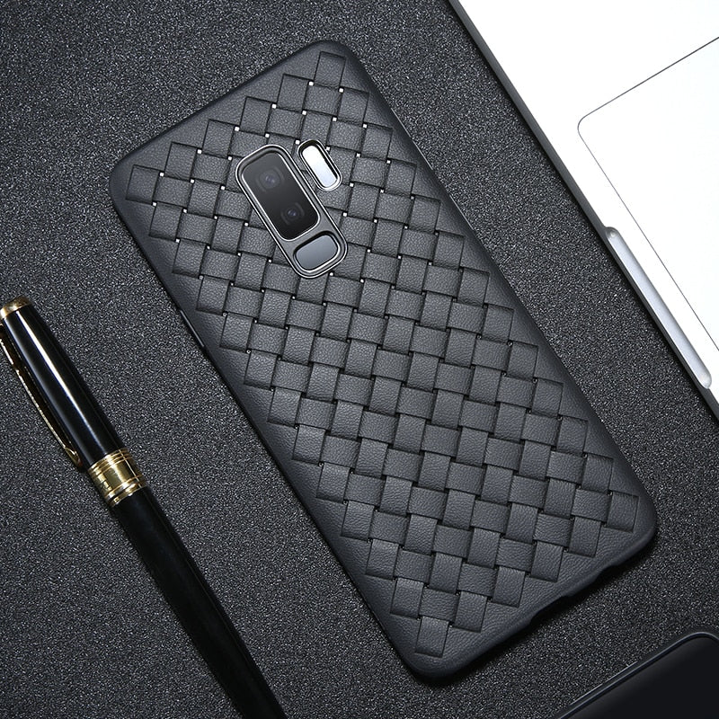 FLOVEME Case For Samsung Galaxy S9 Note 9 Luxury Grid Woven Ultra Thin Soft Silicone Cover For Samsung S9 Plus Note 9 Phone Case