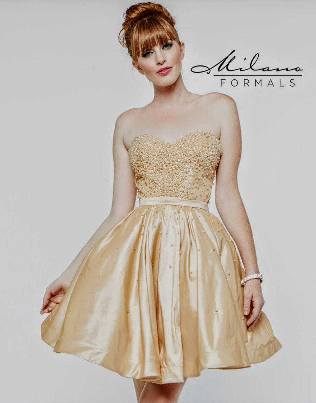 49b146534b9 Beautiful Champagne Milano Homecoming Dress - DressbytheBest