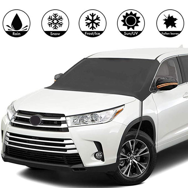 Premium Windshield Snow Cover Sunshade: 6 FEATURES ALL IN 1