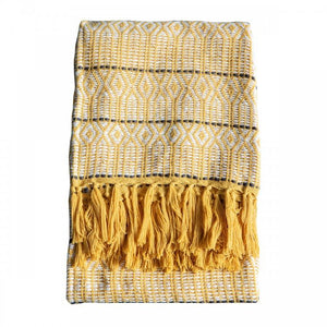Yellow Diamond Pattern Acrylic Throw