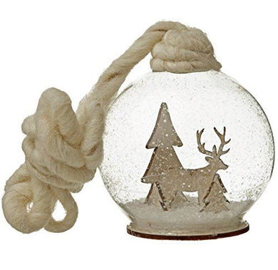 Set of 3 Glass Baubles With Christmas Scene