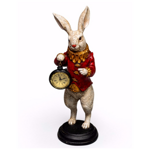 35cm White Rabbit Standing Clock Figure