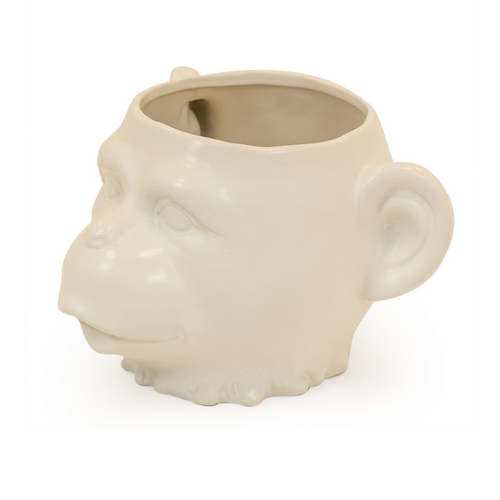 White Ceramic Monkey Pot