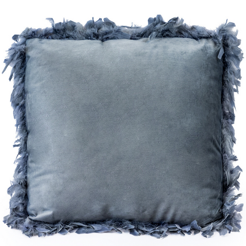 Silvery Grey Feather Edged Square Velvet Cushion