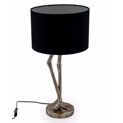 Antique Silver Flamingo Leg Table Lamp with Black Shade