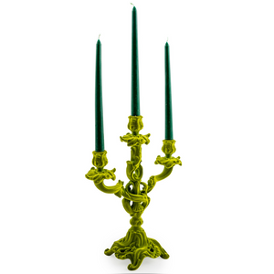 Ornate Flock Bright Green Candelabra
