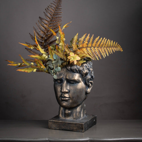 39cm Antique Bronze Roman Head Planter