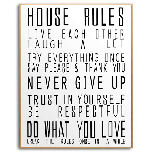 PRE-ORDER Large Glass House Rules Wall Art