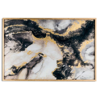 PRE-ORDER Marble Effect Black and Gold Glass Wall Art