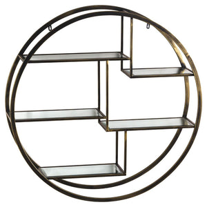 Large Antique Brass Circular Multi Shelf