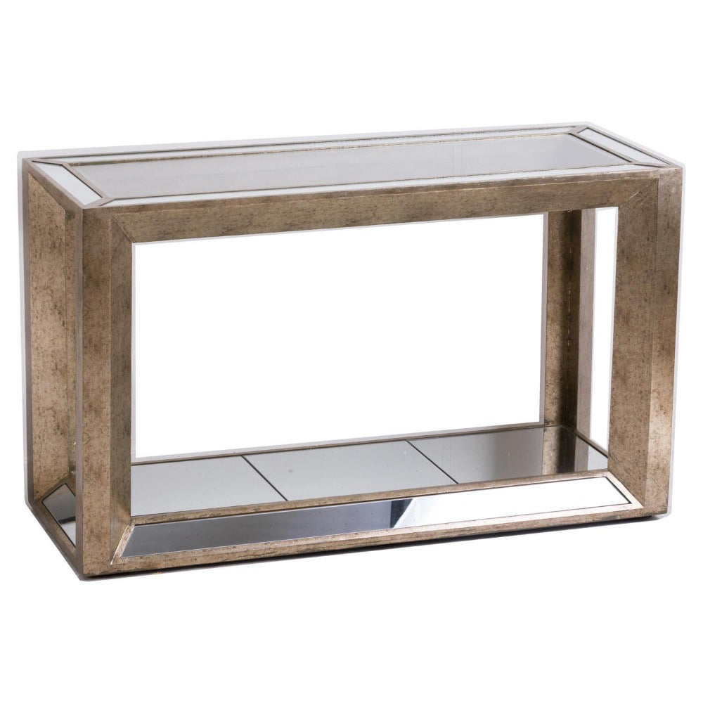 Augustine Mirrored Console Table with Shelf