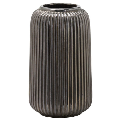 40cm Ridged Glazed Metallic Vase