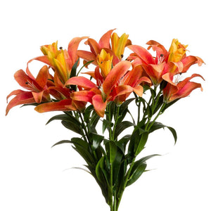 Faux Orange Stargazer Lily Stem