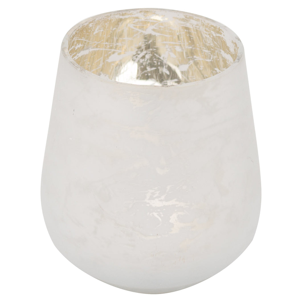 9cm Frosted White Candle Holder