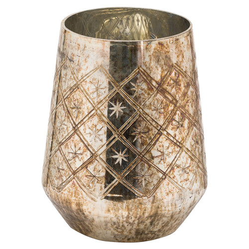 23cm Large Burnished Etched Candle Holder