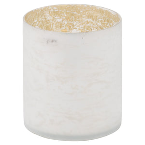 15cm Frosted White Pillar Candle Holder