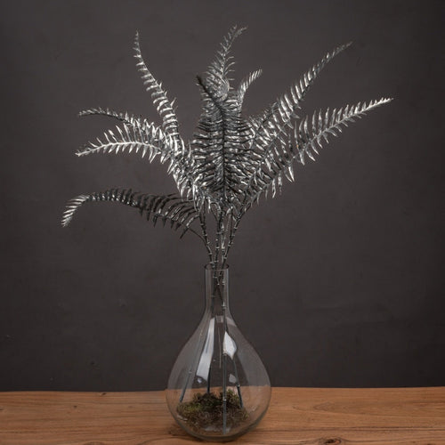 Faux Festive Single Silver Fern Leaf