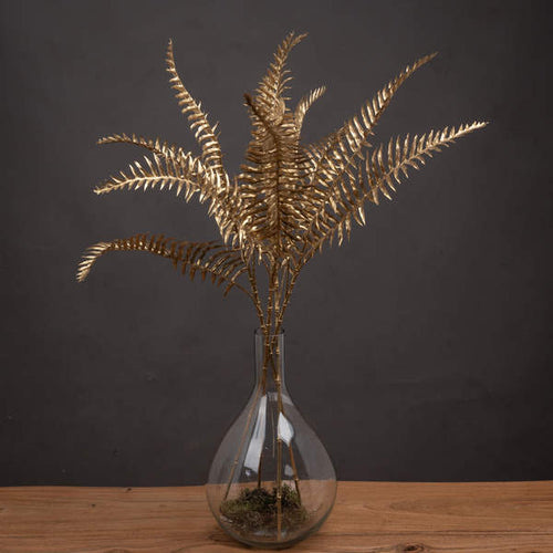 Faux Single Gold Fern Leaf