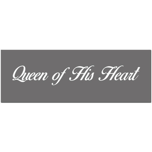 Queen of His Heart Silver Foil Wooden Plaque