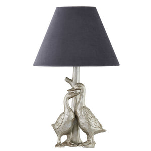 PRE-ORDER Silver Pair Of Ducks Table Lamp