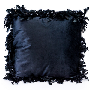 Black Feather Edged Square Velvet Cushion