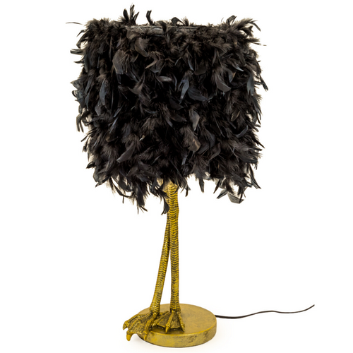 Bird's Legs Table Lamp with Feather Shade