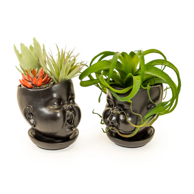 Set of Two Black Ceramic Baby Pots