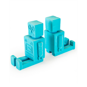 Flocked Blue Robot Bookends Pair