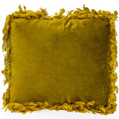 Mustard Feather Edged Square Velvet Cushion