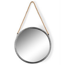 Large Round Distressed Silver Metal and Rope Mirror