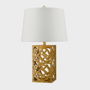 Lee Circle Distressed Gold Table Lamp