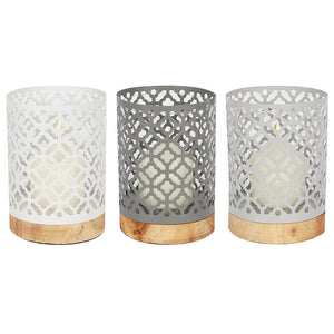 Set of 17.5cm Quatrefoil Candle Lanterns with Wooden Bases