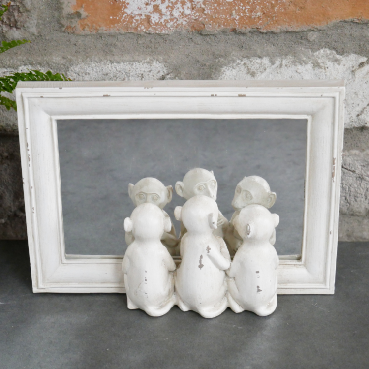 Antique White Three Little Monkeys Mirror