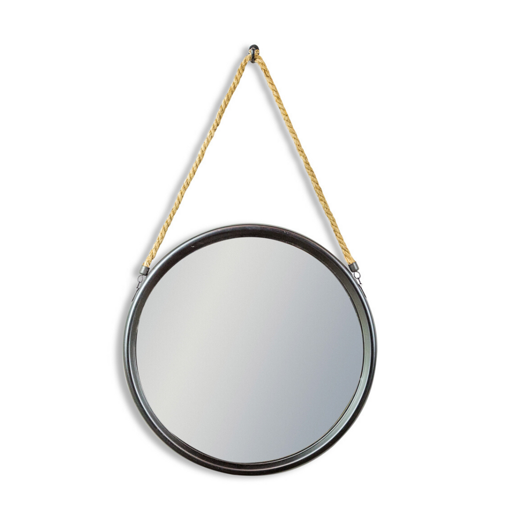 Medium Round Black Metal and Rope Mirror