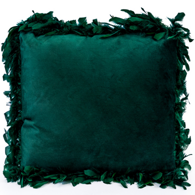 Dark Green Feather Edged Square Velvet Cushion