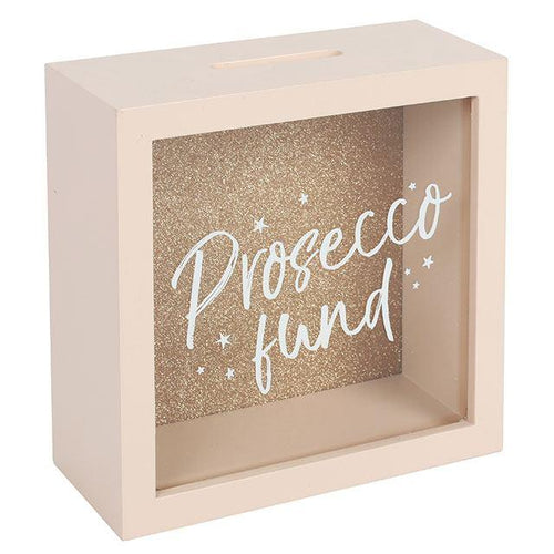 Prosecco Fund Wooden & Glass Money Box