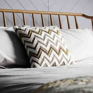 41cm Hand-Embroidered Zig Zag Cushion