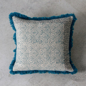 Teal and Cream Paisley Print Cushion