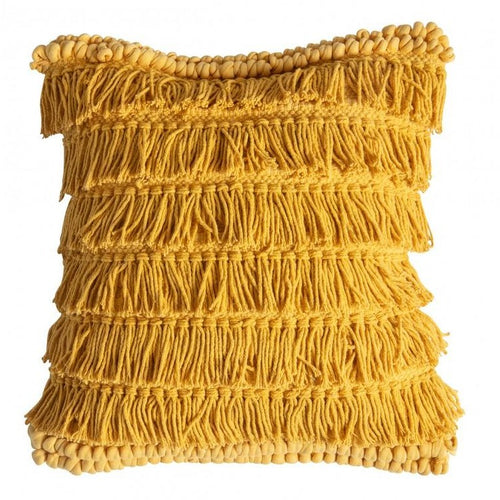 Fringed 45cm Yellow Ochre Cushion
