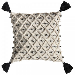 Natural and Black Boho Cable Knit Cushion
