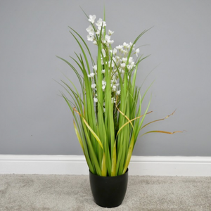 90cm Tall Artificial Grass with White Flowers