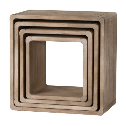 Set Of 4 Wooden Hanging Display Cubes