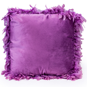 Purple Feather Edged Square Velvet Cushion