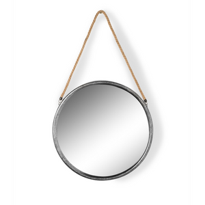 Medium Round Distressed Silver Metal and Rope Mirror