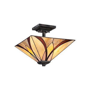The Cirencester Tiffany Style Semi Flush Light