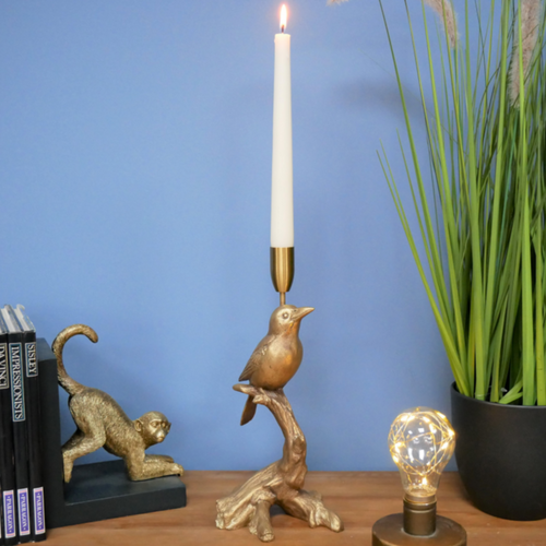 Golden Bird Candlestick Holder