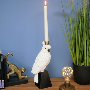 White Parrot Candlestick Holder
